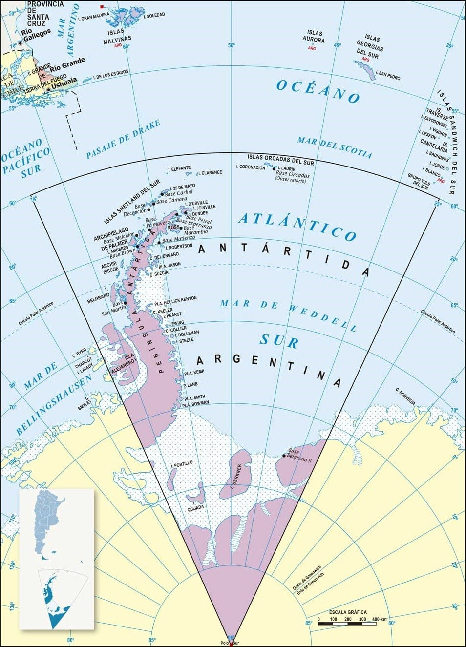 Mapa Antartida Argentina