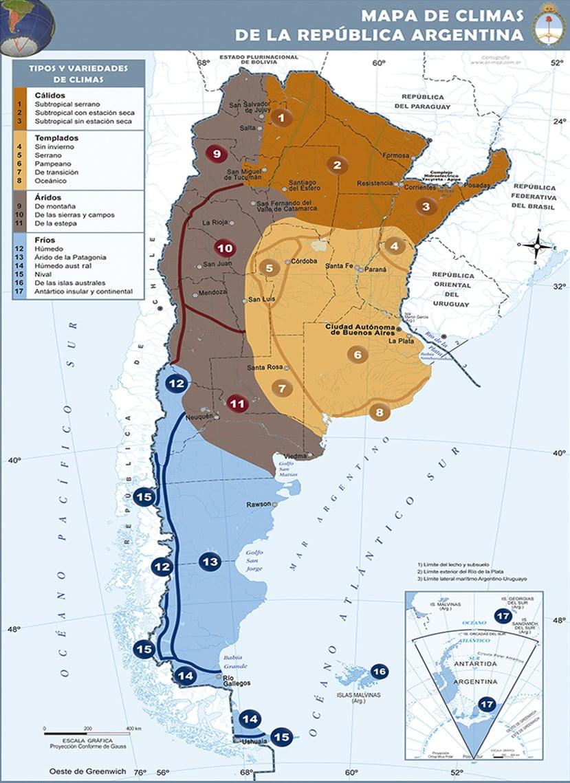 Mapa Climas en Argentina